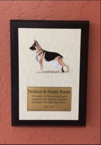 Photo of kennel sponsorship plaque